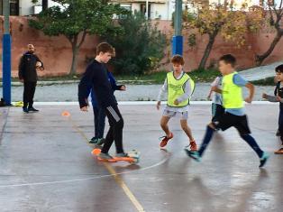 Davis at futbal practice