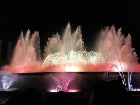 Holiday fountain lights in Barcelona