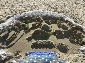 Holiday display by our local homeless sand castle artist