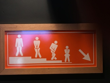 WC sign in the ski lodge
