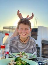 Davis with antlers