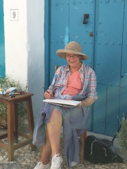 Mom painting in Frigiliana