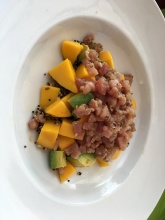 Delicious lunch: quinoa, avocado, mango, fresh tuna
