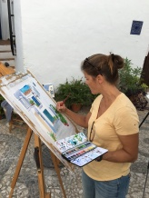 Julie painting in Frigiliana